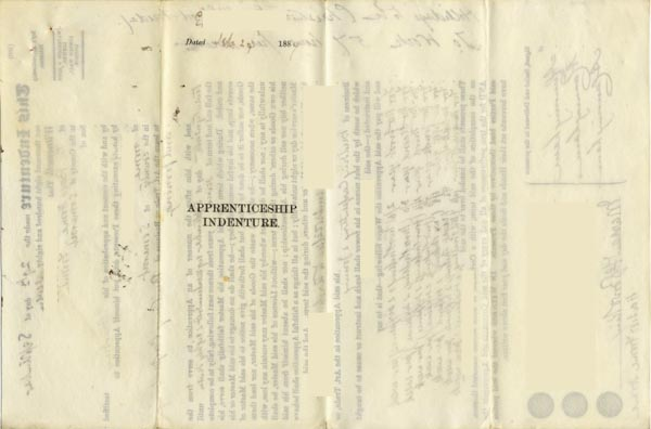 Large size image of Case 67 3. Apprenticeship indenture agreement 29 September 1887  page 1