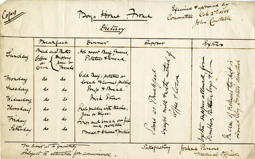 Approved diet sheet for St Aldhelm's Home, Frome, Somerset, 1888