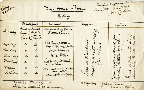 Approved diet sheet for St Aldhelm's Home, Frome, 1888