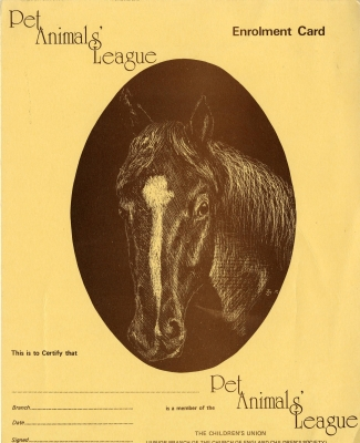 Pet Animals' league enrolment card