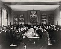 Boys in a dining room