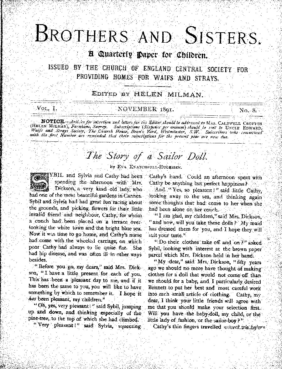 Brothers and Sisters November 1891 - page 1