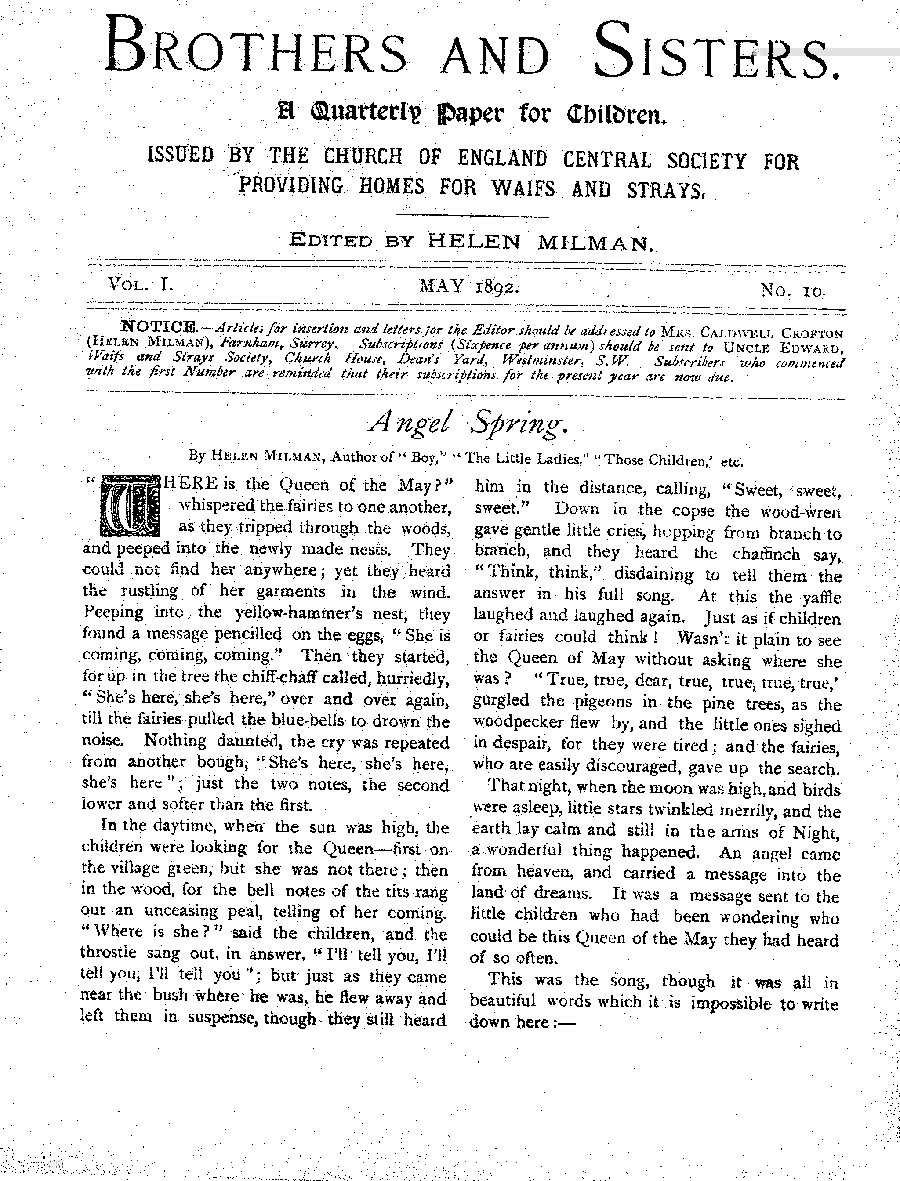Brothers and Sisters May 1892 - page 1