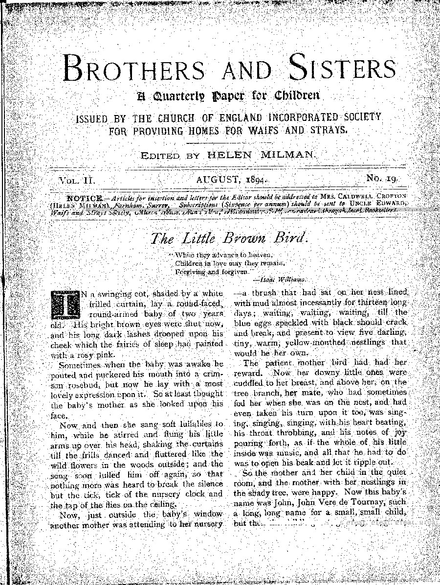Brothers and Sisters August 1894 - page 1