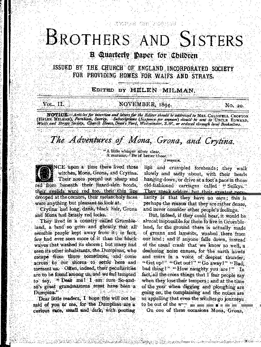 Brothers and Sisters November 1894 - page 1