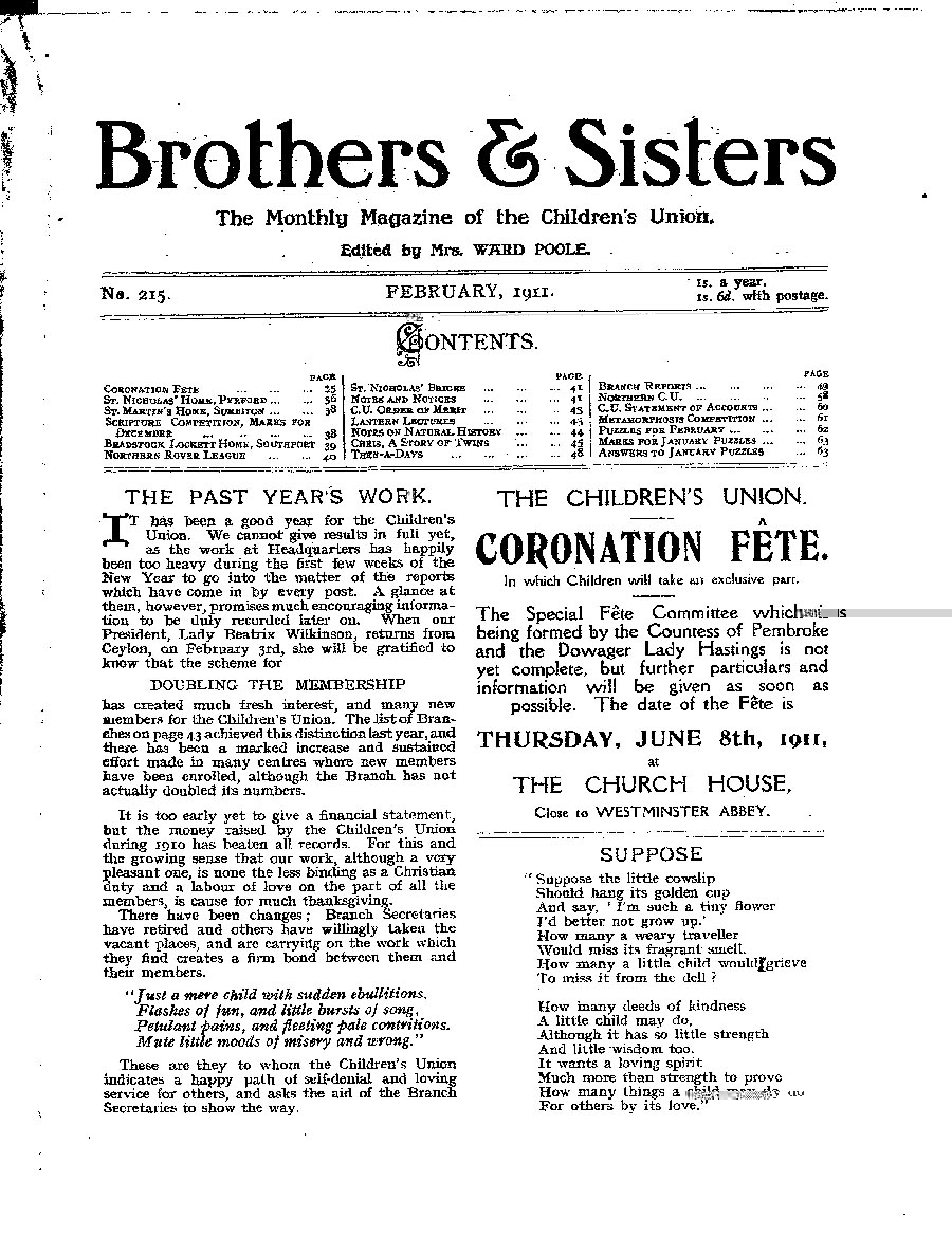 Brothers and Sisters February 1911 - page 1