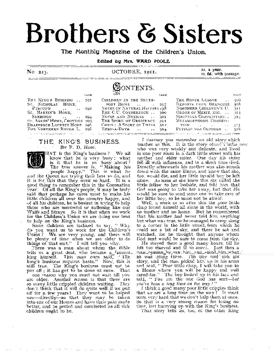 Brothers and Sisters October 1911 - page 1