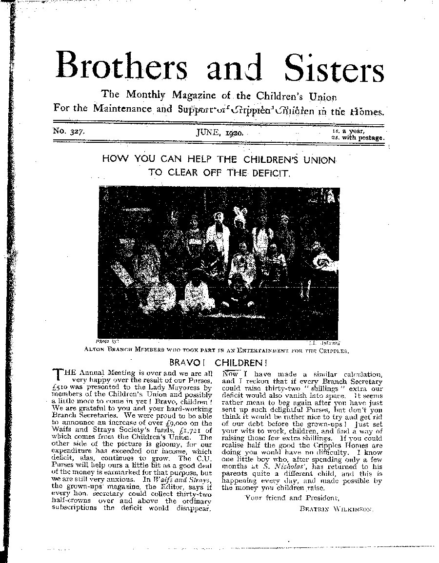 Brothers and Sisters June 1920 - page 1