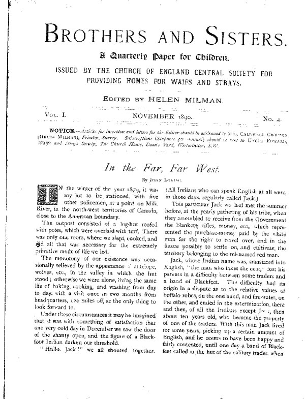 Brothers and Sisters November 1890 - page 1
