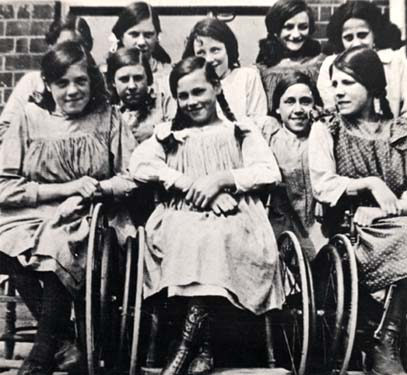 The Society always provided the best equipment they could. These three girls are sitting in wheelchairs, which would have been very expensive to buy. It cost about £36 in 1904 to look after a disabled child for a year. This was a considerable amount of money at the time.