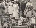 Queen Mary on the steps of a nursery home