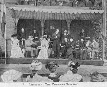 During fetes and bazaars, speeches were often made by local members of the Society. Here the Chairman of the Leicester branch, addresses an audience of local ladies and gentlemen. It was hoped that this fete would raise nearly £150 for the Society - a considerable amount of money at the time.