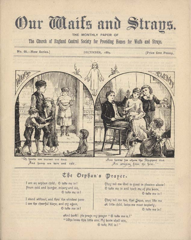 This Christmas cover from 'Our Waifs and Strays' is a perfect example of what many people call 'Victorian sentimentality'.
