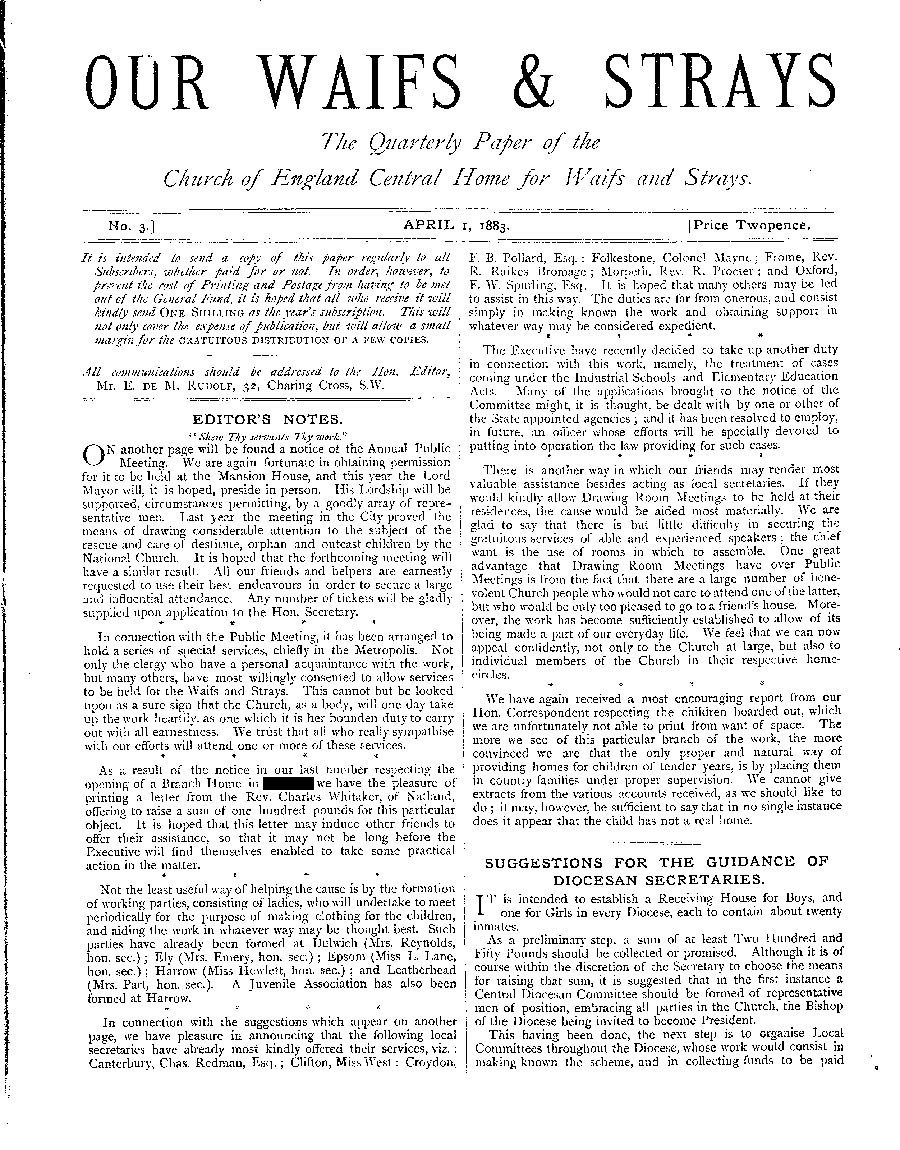 Our Waifs and Strays April 1883 - page 1