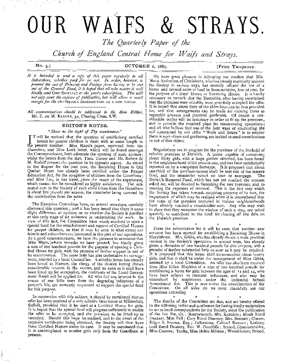 Our Waifs and Strays October 1883 - page 1