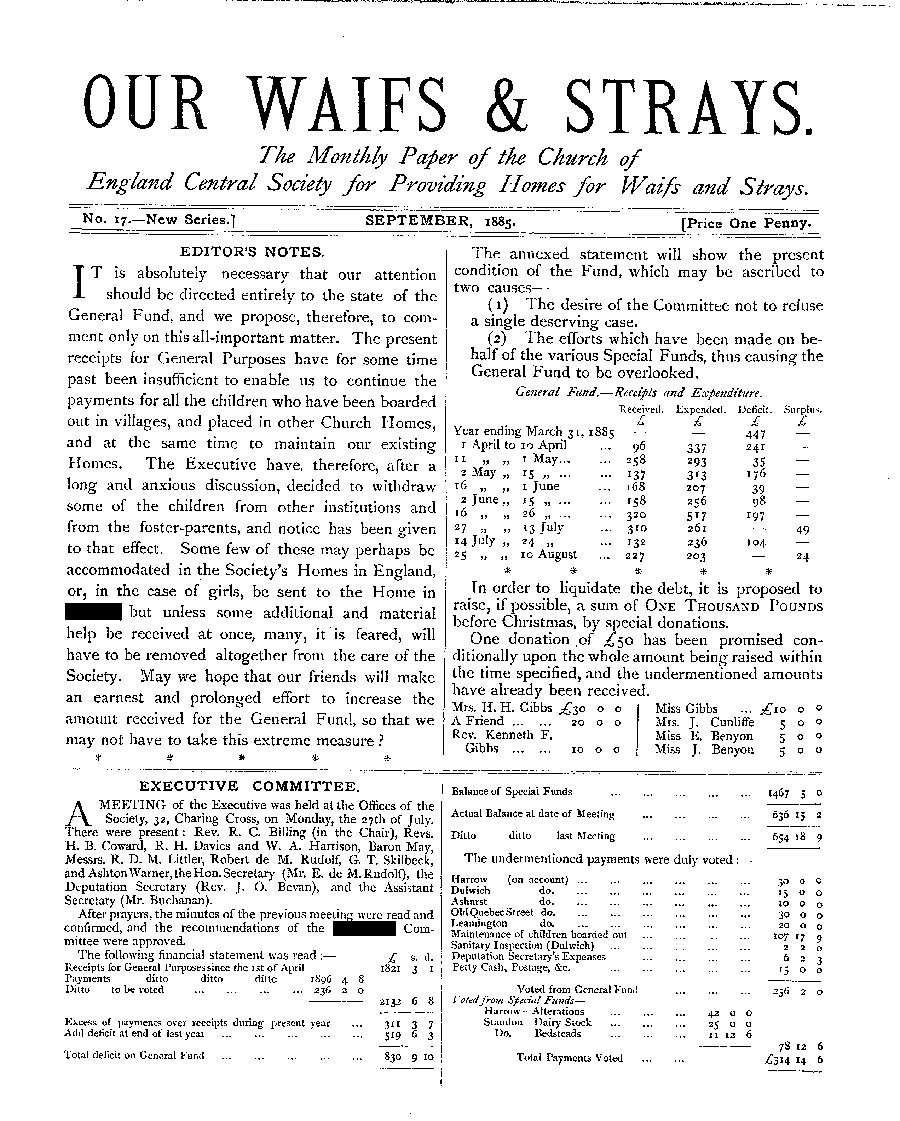 Our Waifs and Strays September 1885 - page 1