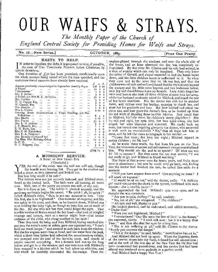 Our Waifs and Strays October 1885 - page 1