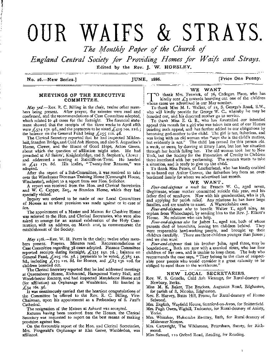 Our Waifs and Strays June 1886 - page 1
