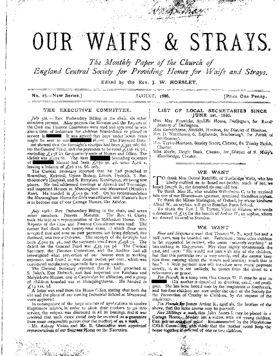 Our Waifs and Strays August 1886 - page 1