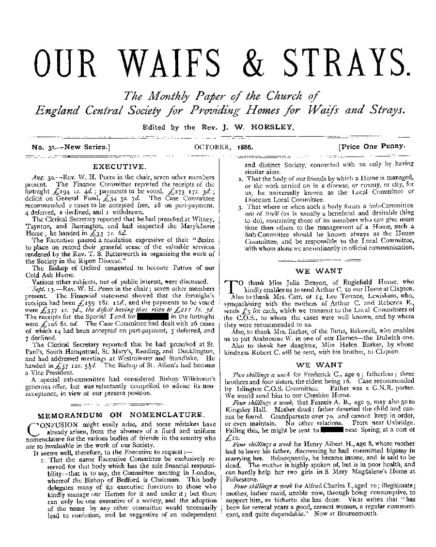 Our Waifs and Strays October 1886 - page 1
