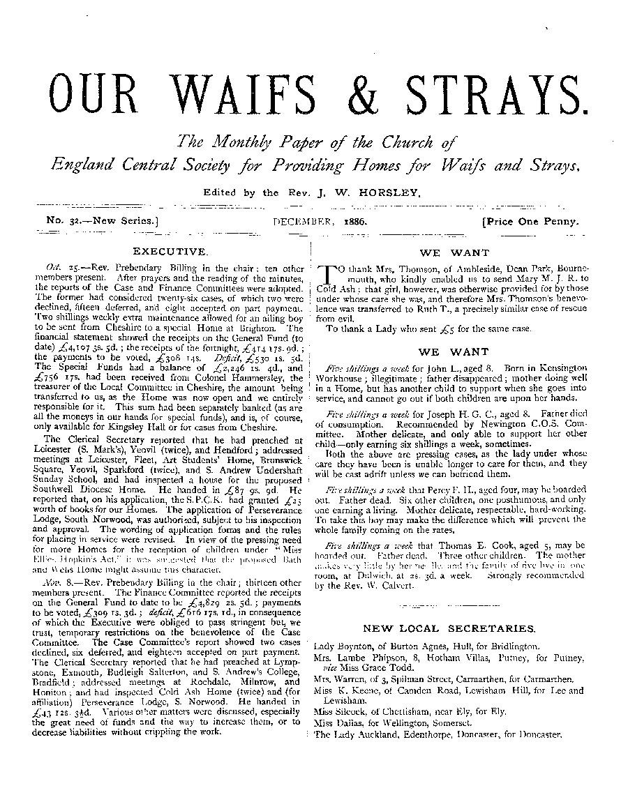 Our Waifs and Strays December 1886 - page 1