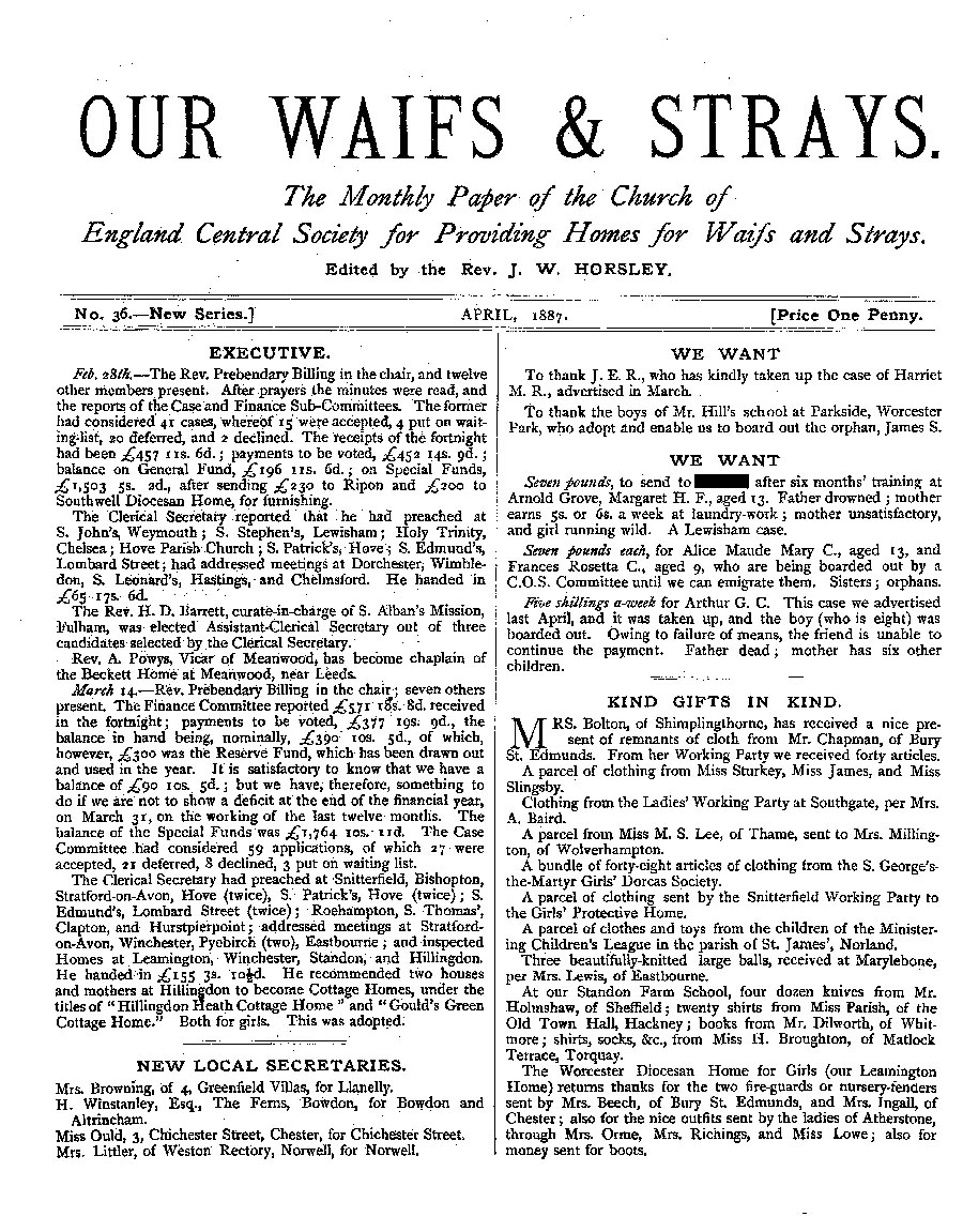 Our Waifs and Strays April 1887 - page 1