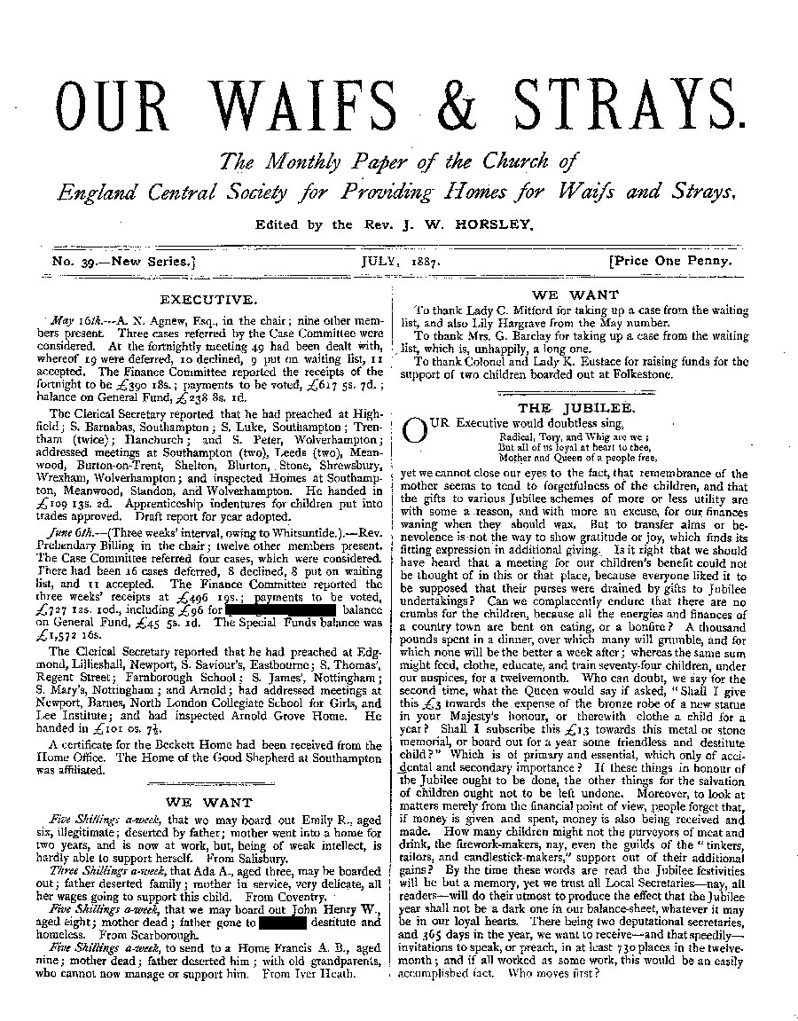 Our Waifs and Strays July 1887 - page 1