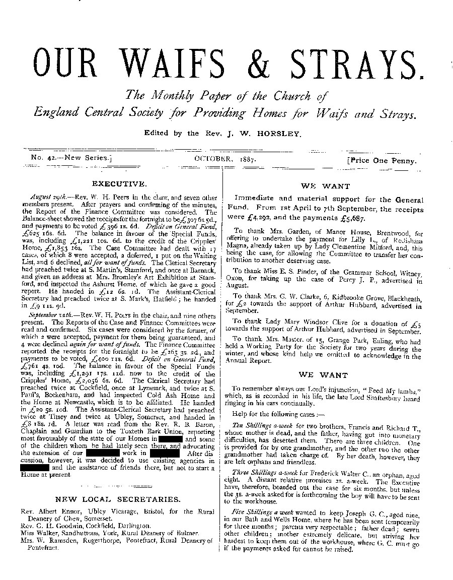Our Waifs and Strays October 1887 - page 1