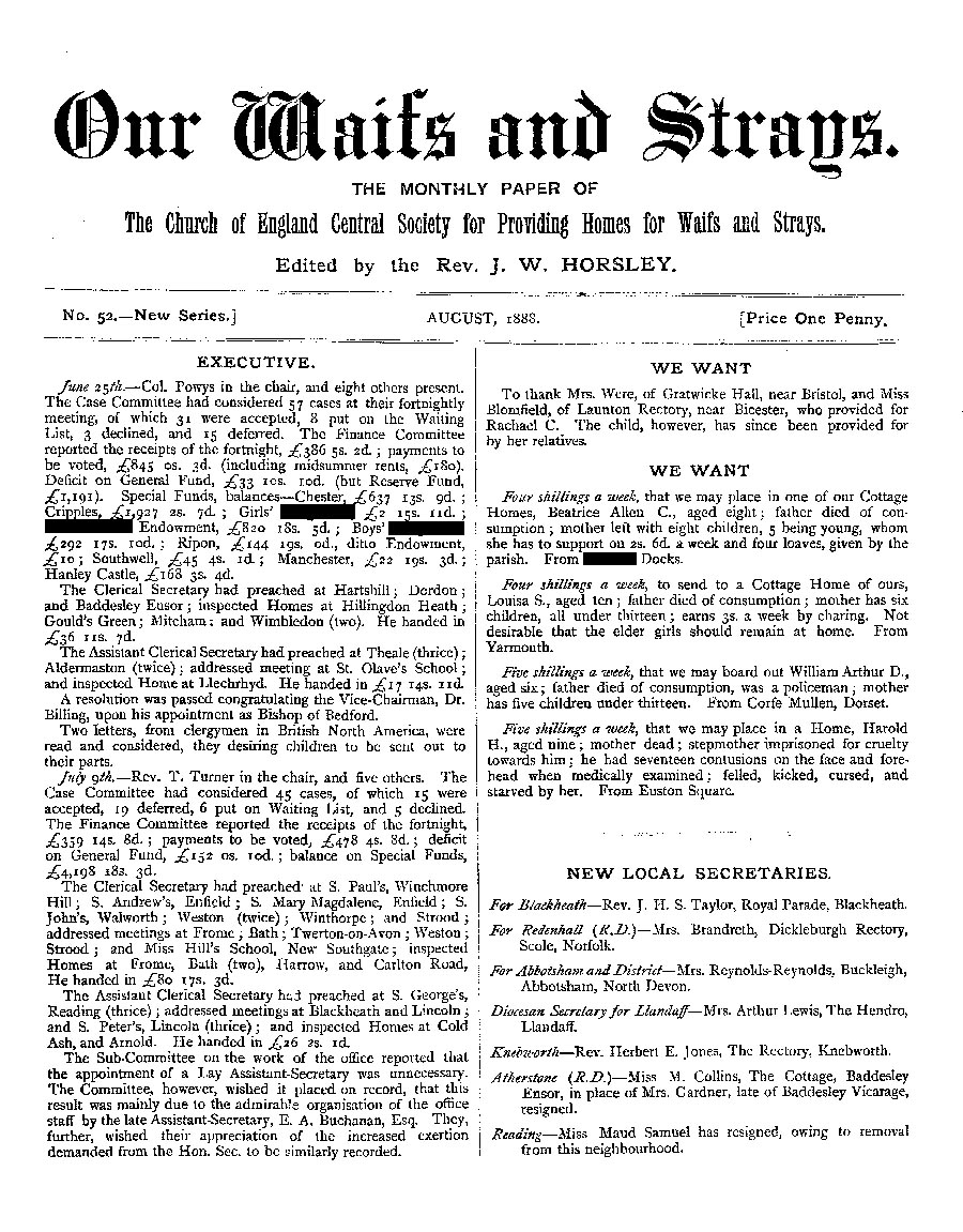 Our Waifs and Strays August 1888 - page 1