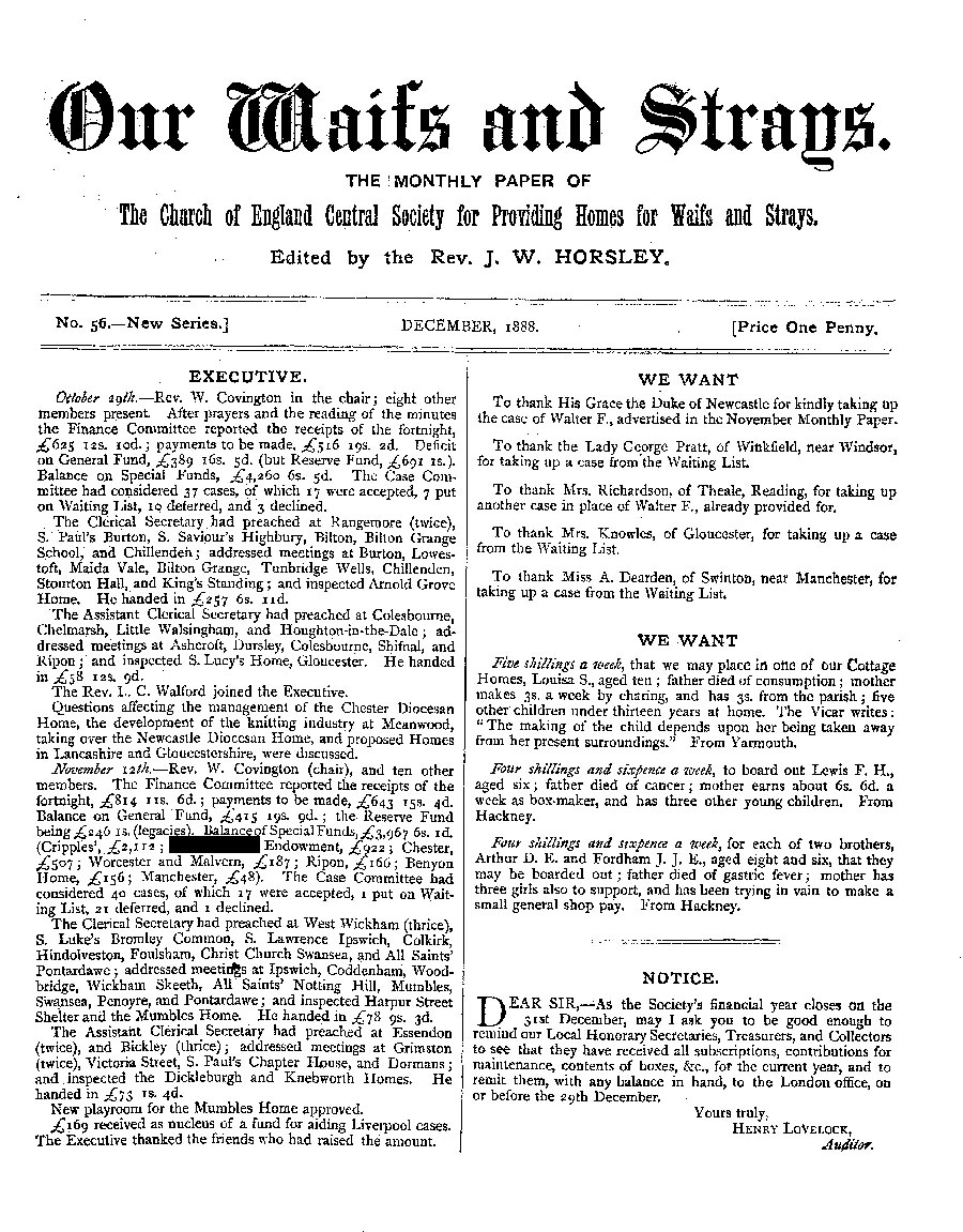 Our Waifs and Strays December 1888 - page 1