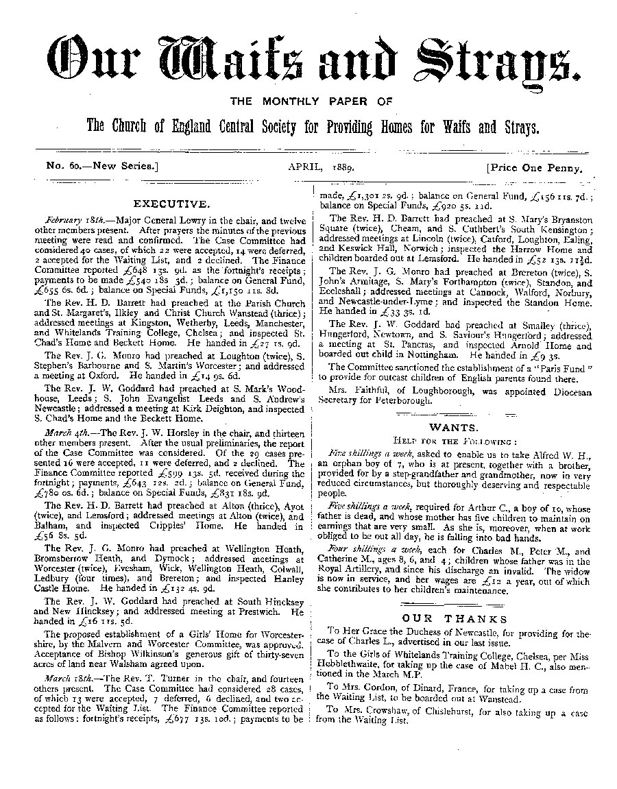 Our Waifs and Strays April 1889 - page 1