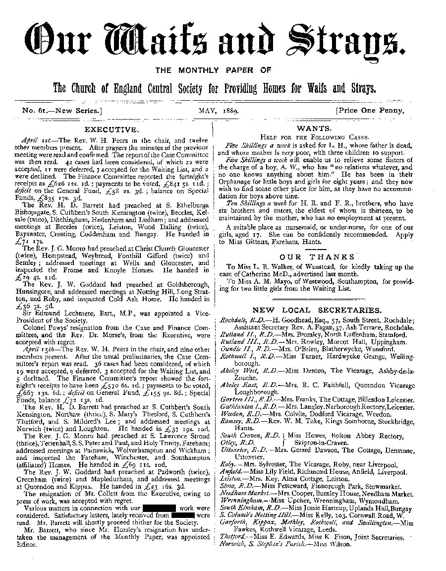 Our Waifs and Strays May 1889 - page 1