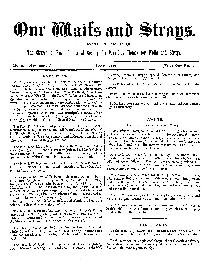 Our Waifs and Strays June 1889 - page 1