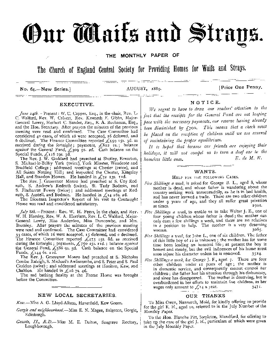 Our Waifs and Strays August 1889 - page 1