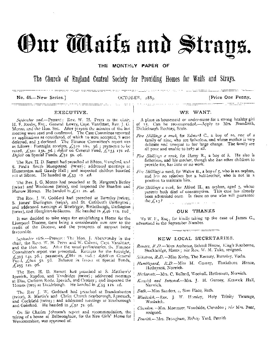 Our Waifs and Strays October 1889 - page 1