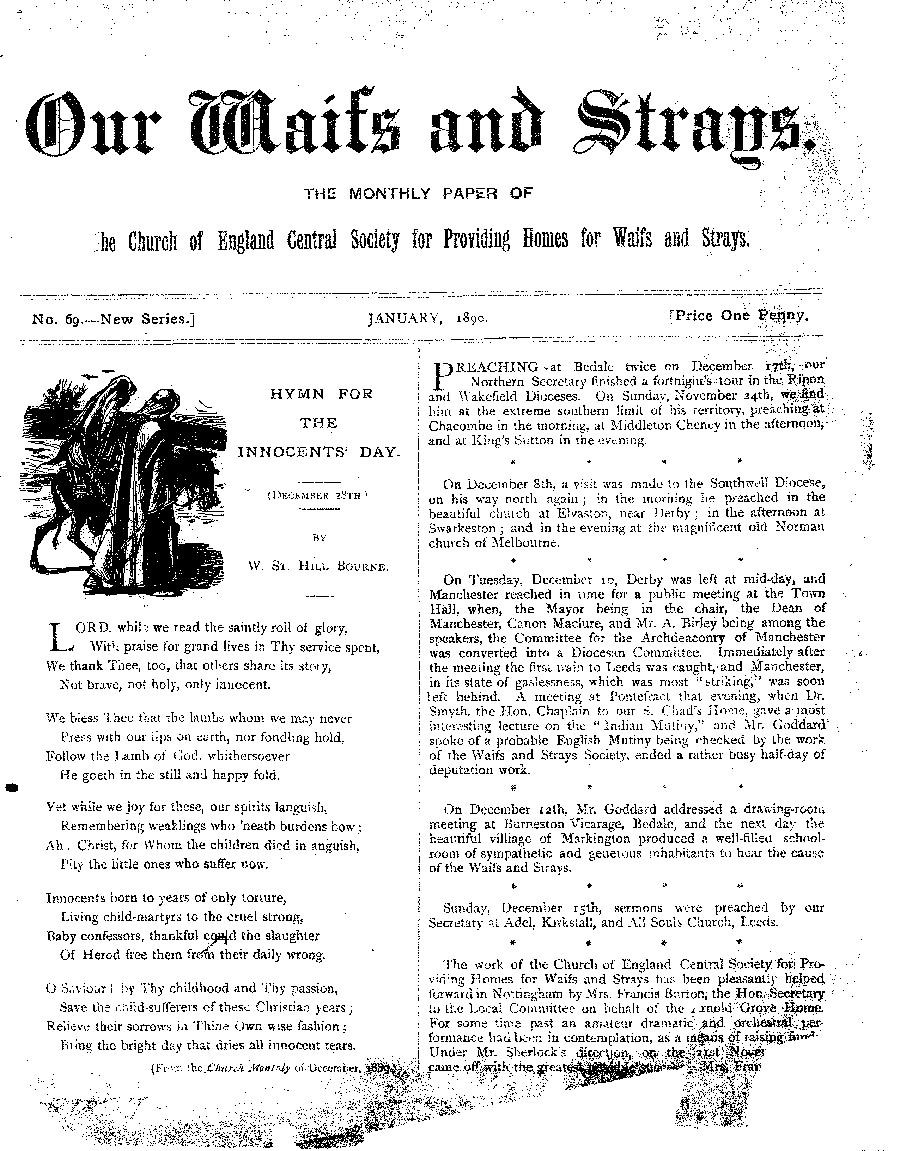 Our Waifs and Strays January 1890 - page 1