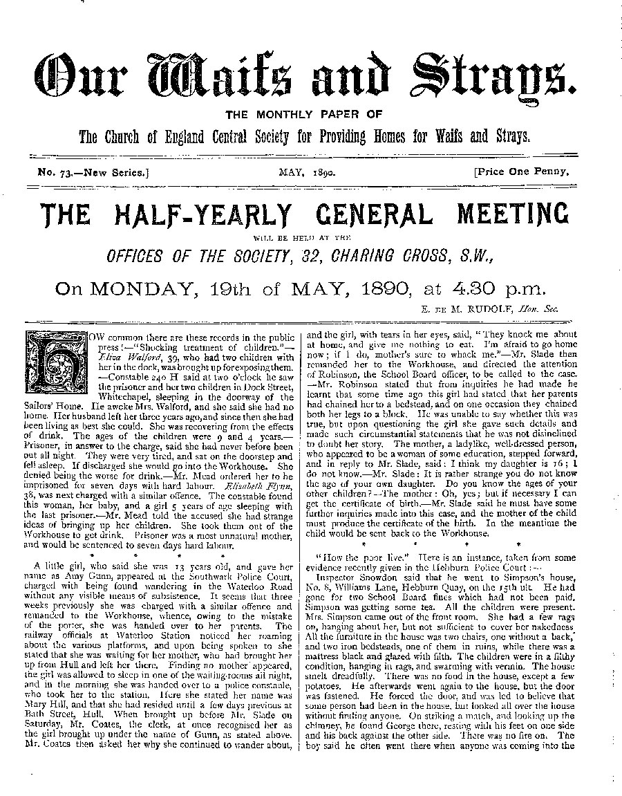 Our Waifs and Strays May 1890 - page 1