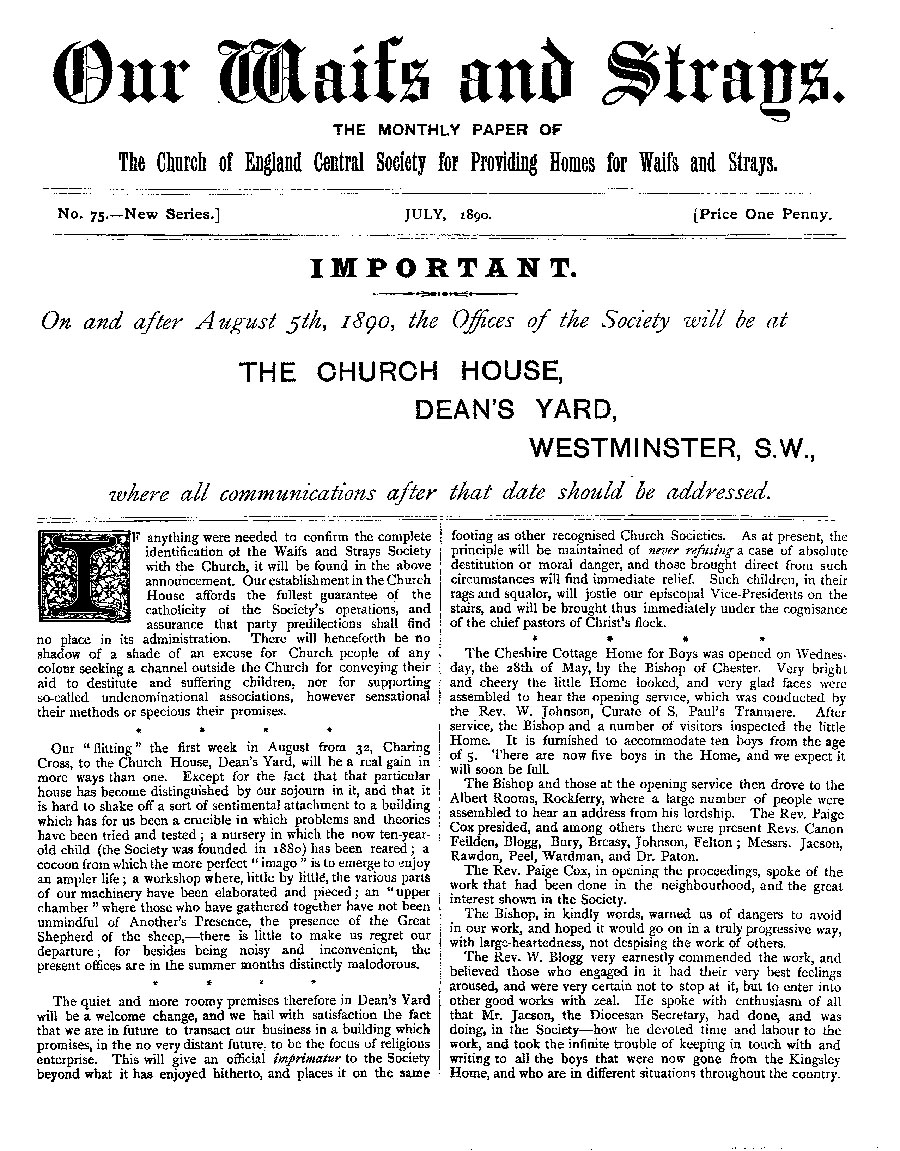 Our Waifs and Strays July 1890 - page 1