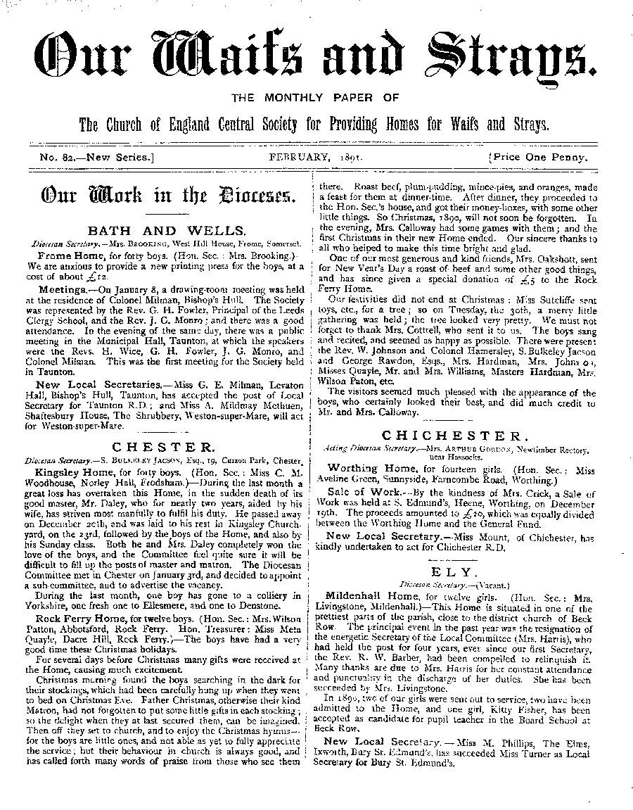 Our Waifs and Strays February 1891 - page 1