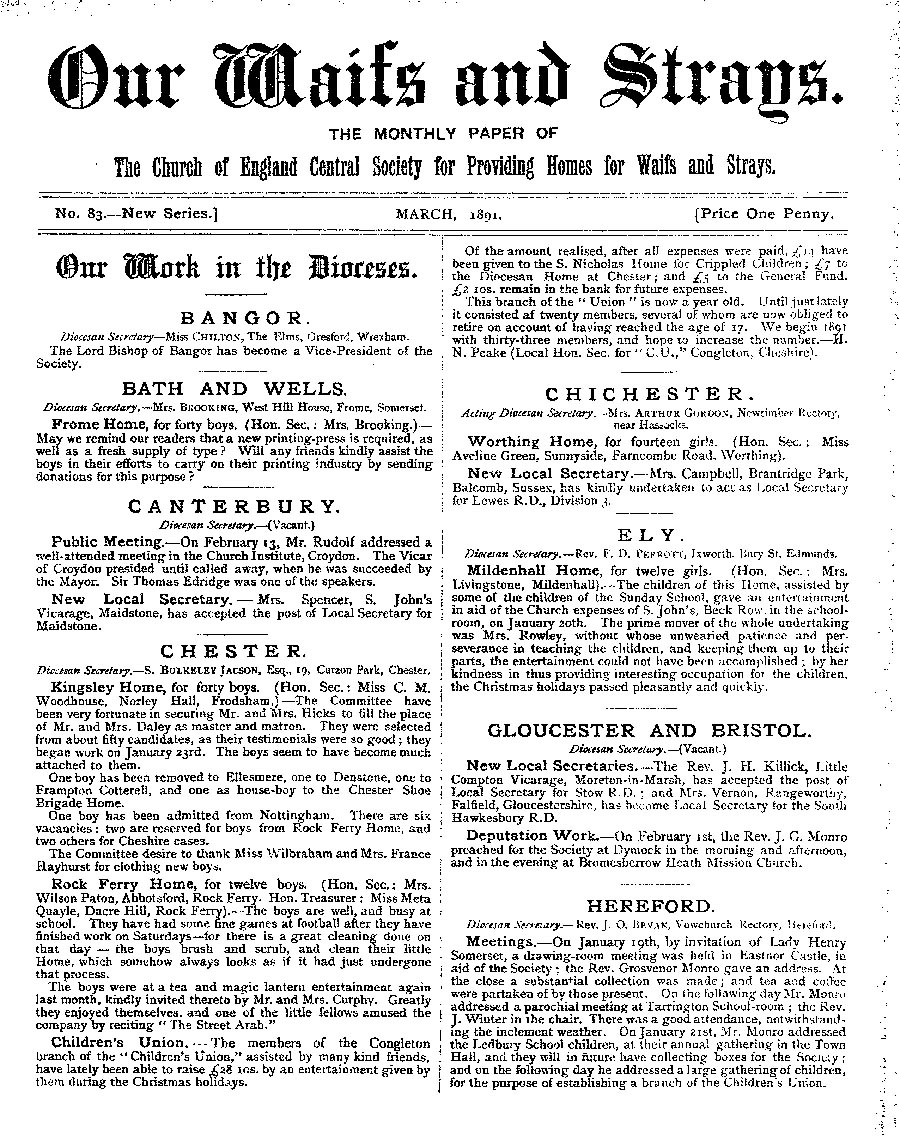 Our Waifs and Strays March 1891 - page 1