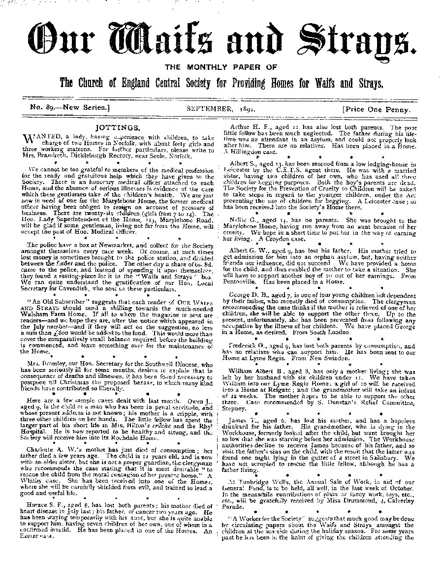 Our Waifs and Strays September 1891 - page 1