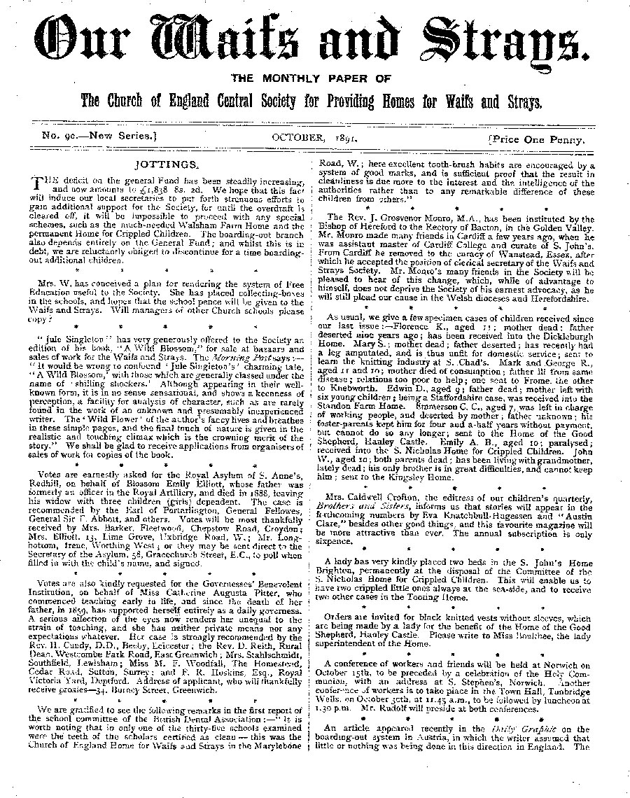 Our Waifs and Strays October 1891 - page 1