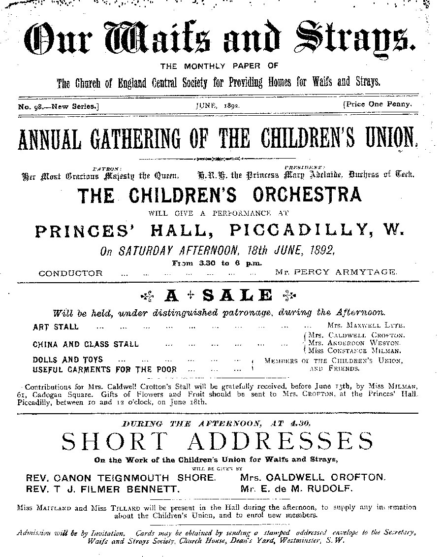 Our Waifs and Strays June 1892 - page 1