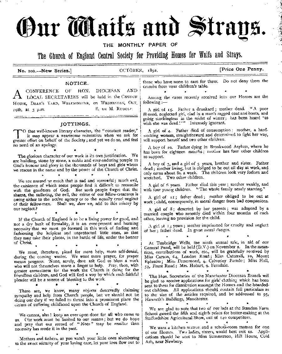 Our Waifs and Strays October 1892 - page 1