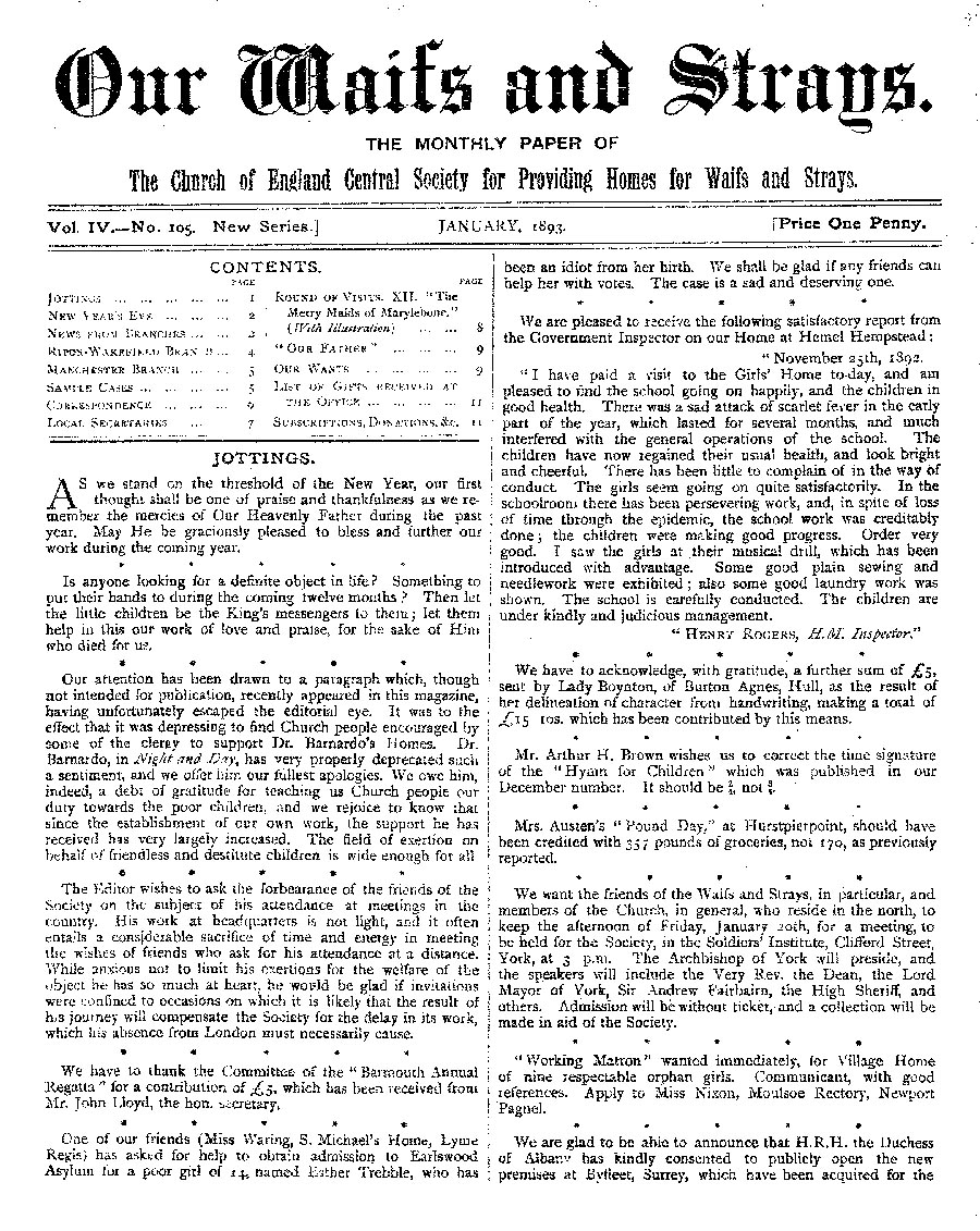 Our Waifs and Strays January 1893 - page 1