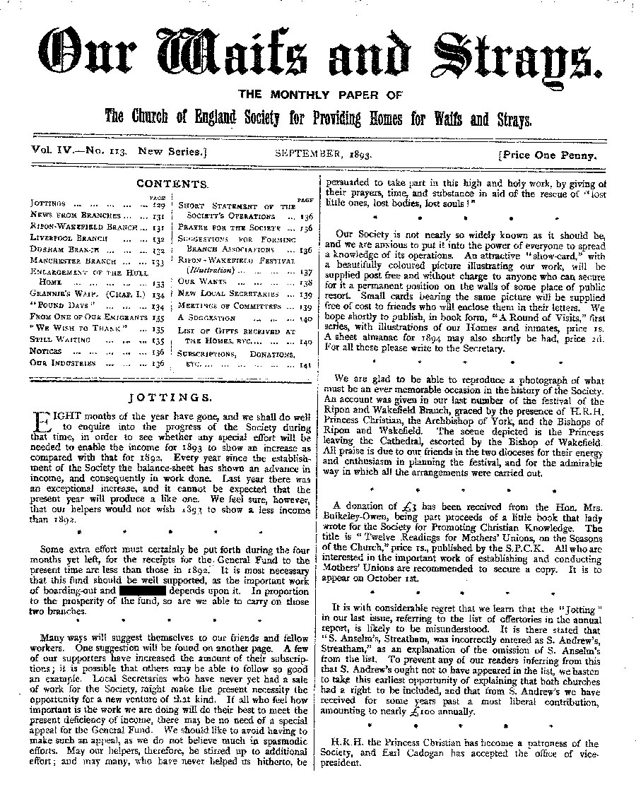Our Waifs and Strays September 1893 - page 127