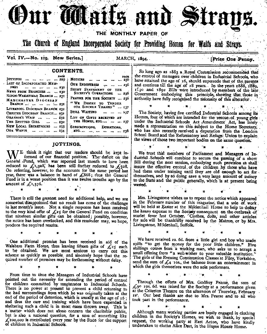 Our Waifs and Strays March 1894 - page 37