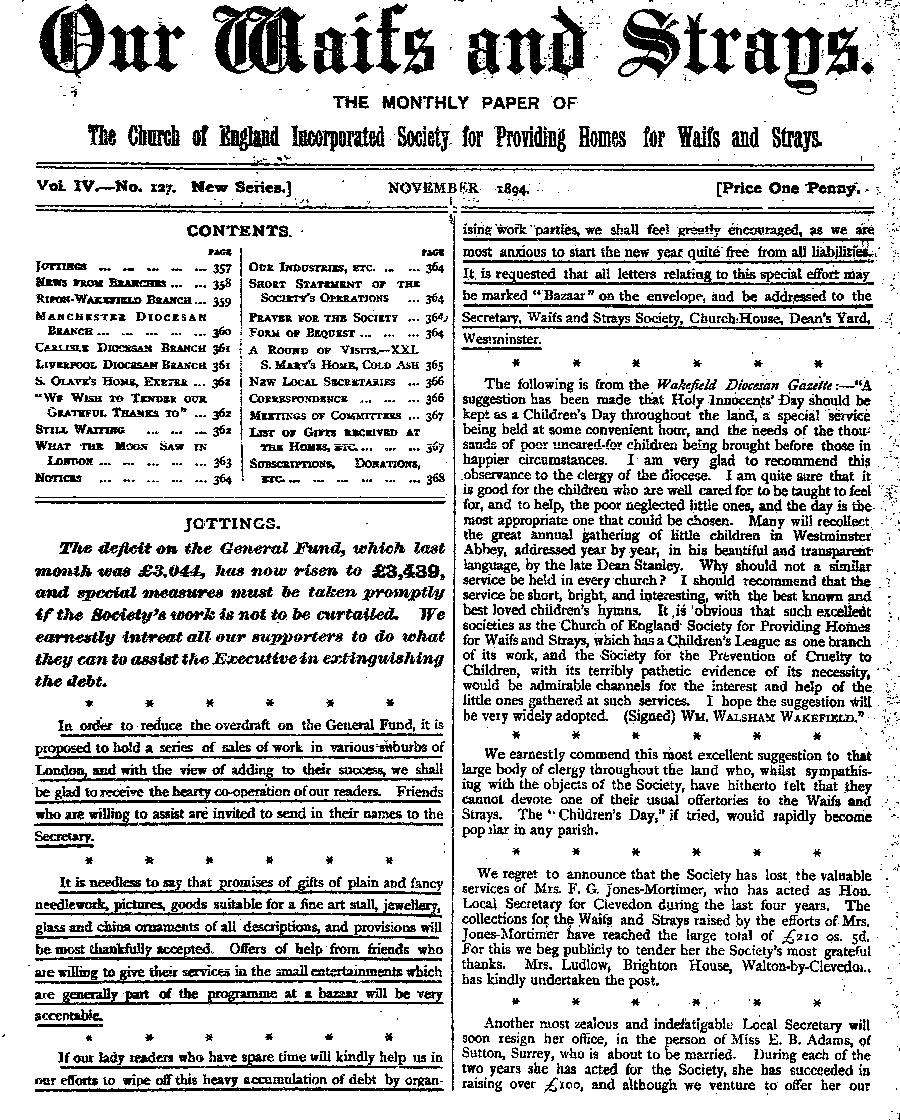 Our Waifs and Strays November 1894 - page 165