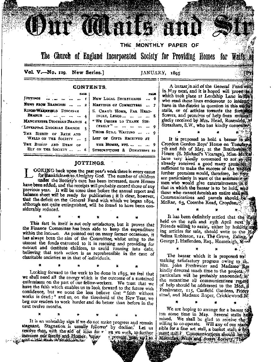 Our Waifs and Strays January 1895 - page 1