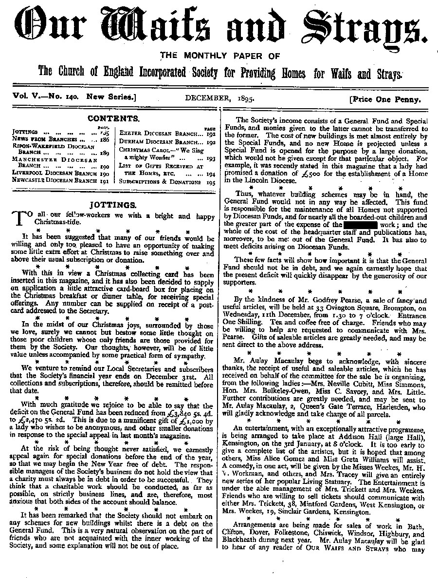 Our Waifs and Strays December 1895 - page 185